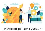 vector illustration on white background. business porters a successful team. The investor holds money in ideas. financing of creative projects. woman and man business handshake | Shutterstock vector #1045285177