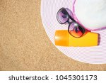 stylish beautiful hat with... | Shutterstock . vector #1045301173