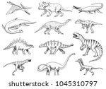 dinosaurs set  tyrannosaurus... | Shutterstock .eps vector #1045310797