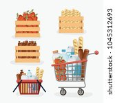 supermarket colorful set with... | Shutterstock .eps vector #1045312693