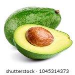 avocado isolated on white...   Shutterstock . vector #1045314373