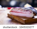 guanciale  cured meat product... | Shutterstock . vector #1045323277