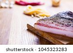 guanciale  cured meat product... | Shutterstock . vector #1045323283