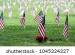 american flags at a veterans... | Shutterstock . vector #1045324327