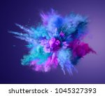 explosion of blue  aqua and... | Shutterstock . vector #1045327393