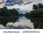 before sunrise in the danube... | Shutterstock . vector #1045344523