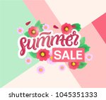 spring sale banners poster tag... | Shutterstock .eps vector #1045351333