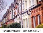 row of typical british terraced ...   Shutterstock . vector #1045356817