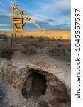abandoned mine head frame over... | Shutterstock . vector #1045357597