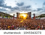 madrid   jun 24  the crowd in a ... | Shutterstock . vector #1045363273