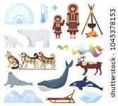 arctic vector northern borealis ... | Shutterstock .eps vector #1045378153