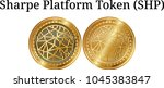 set of physical golden coin... | Shutterstock .eps vector #1045383847