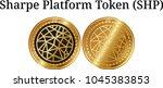 set of physical golden coin... | Shutterstock .eps vector #1045383853