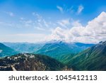 sochi mountains and girl | Shutterstock . vector #1045412113