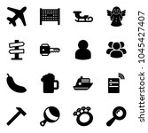 solid vector icon set   plane... | Shutterstock .eps vector #1045427407