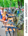 Small photo of Russia, Samara, May 2017: Showing small arms to residents of the city in Gagarin Park on a spring sunny day.