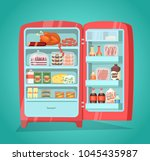 retro refrigerator full of food.... | Shutterstock . vector #1045435987