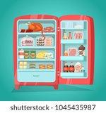 retro refrigerator full of food.... | Shutterstock . vector #1045435987