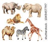 set of watercolor images of... | Shutterstock . vector #1045457797