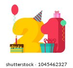 21 year birthday sign. 21th... | Shutterstock .eps vector #1045462327