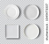 white plate set isolated on... | Shutterstock .eps vector #1045473337
