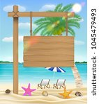 hang wood board sign on sea... | Shutterstock .eps vector #1045479493