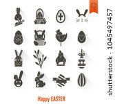 celebration easter icons.... | Shutterstock .eps vector #1045497457