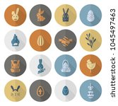 celebration easter icons.... | Shutterstock .eps vector #1045497463