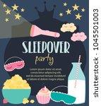 pajama sleepover kids' party... | Shutterstock .eps vector #1045501003