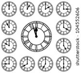 Roman Clocks at Every Hour and Close to Midnight - stock vector