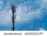 broadcast pole and telephone...   Shutterstock . vector #1045532197