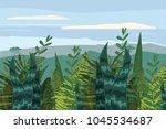 summer tropical jungle card... | Shutterstock .eps vector #1045534687