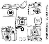 retro photo camera set in vector | Shutterstock .eps vector #104554943