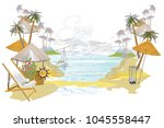 series of tropical backgrounds. ... | Shutterstock .eps vector #1045558447