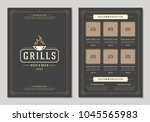 barbecue restaurant logo and... | Shutterstock .eps vector #1045565983