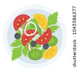 healthy and delicious plate of... | Shutterstock .eps vector #1045586377