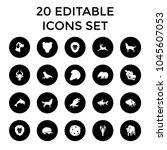 wildlife icons. set of 20... | Shutterstock .eps vector #1045607053