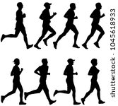 set of silhouettes. runners on... | Shutterstock .eps vector #1045618933