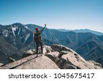 young female travel blogger... | Shutterstock . vector #1045675417