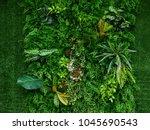 artificial green plant wall | Shutterstock . vector #1045690543