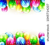 colorful birthday balloons on... | Shutterstock .eps vector #1045714207