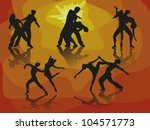 silhouette dance couple | Shutterstock .eps vector #104571773