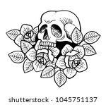 rose tattoo with skull.... | Shutterstock .eps vector #1045751137