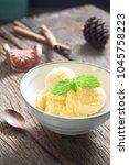 homemade mango ice cream with... | Shutterstock . vector #1045758223