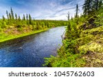 mountain forest river panorama | Shutterstock . vector #1045762603