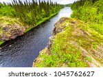 mountain forest river top view... | Shutterstock . vector #1045762627