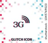 3g  glitch effect vector icon. | Shutterstock .eps vector #1045769023