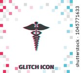 caduceus medical  glitch effect ... | Shutterstock .eps vector #1045771633