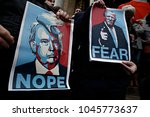 protesters gather in bourse... | Shutterstock . vector #1045773637