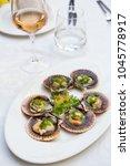 fresh scallops in the shell... | Shutterstock . vector #1045778917